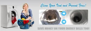 Dryer vent cleaning to prevent fires banner