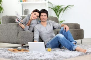 Couple after air duct cleaning service
