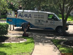 Aura air duct cleaning technicians at work